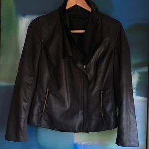 a.n.a black faux leather moto jacket